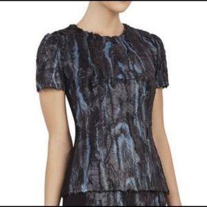 BCBG Maxazria Black Blue Tulum Short Sleeve Top